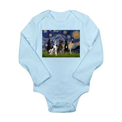 Starry / 4 Great Danes Long Sleeve Infant Bodysuit