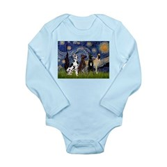 Starry / 4 Great Danes Long Sleeve Infant Bodysuit