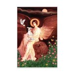 Seated Angel / Ital Greyhound Mini Poster Print