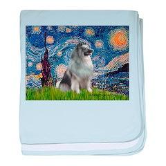 Starry / Keeshond baby blanket