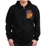 Mandolin / Lhasa Apso #9 Zip Hoodie (dark)