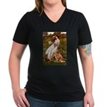 Wind Flowers & Nova Scotia Women's V-Neck Dark T-S