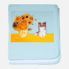 Sunflowers / Papillon(f) baby blanket