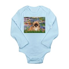 Lilies / Pekingese(r&w) Long Sleeve Infant Bodysui