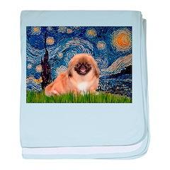 Starry / Pekingese(r&w) baby blanket
