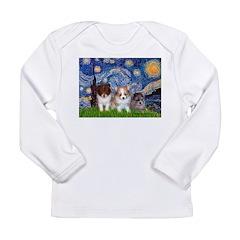 Starry Night /Pomeranian pups Long Sleeve Infant T