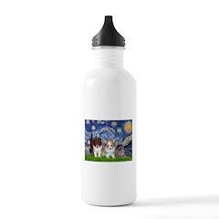 Starry Night /Pomeranian pups Water Bottle