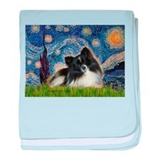 Starry Night / Pomeranian (b&w) baby blanket