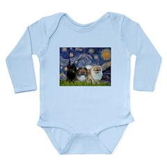 Starry/3 Pomeranians Long Sleeve Infant Bodysuit