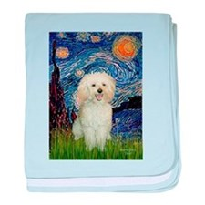 Starry / Poodle (White) baby blanket