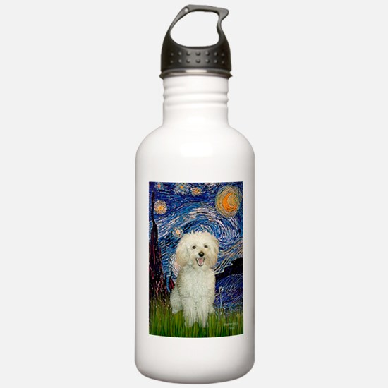 Starry / Poodle (White) Water Bottle