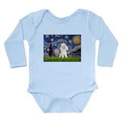 Starry / Poodle (White) Long Sleeve Infant Bodysui