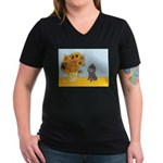 Sunflowers / Poodle (Silver) Women's V-Neck Dark T