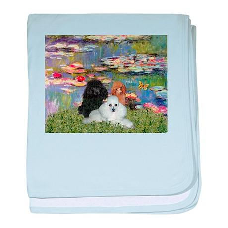 Lilies / 3 Poodles baby blanket