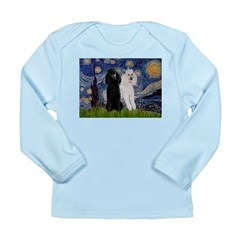 Starry Night / 2 Poodles(b&w) Long Sleeve Infant T