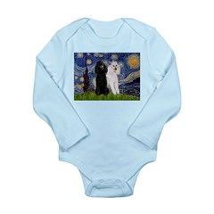Starry Night / 2 Poodles(b&w) Long Sleeve Infant B