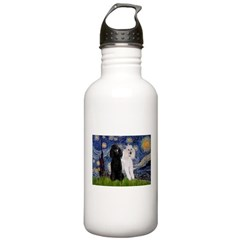 Starry Night / 2 Poodles(b&w) Water Bottle