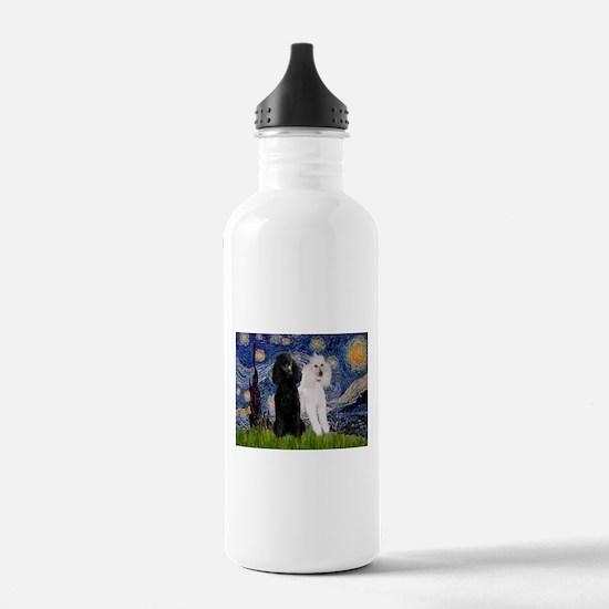Starry Night / 2 Poodles(b&w) Water Bottle