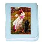 Windflowers / Poodle (BLk-ST) baby blanket