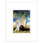 Umbrella / 2 Poodles(b & w) Small Poster