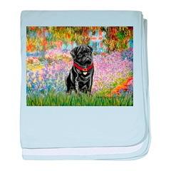 Garden / Black Pug baby blanket