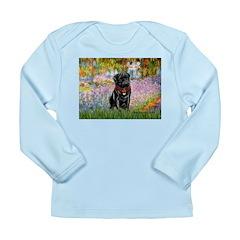 Garden / Black Pug Long Sleeve Infant T-Shirt