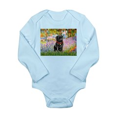 Garden / Black Pug Long Sleeve Infant Bodysuit