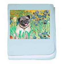 Irises / Pug baby blanket