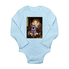 Queen-Sir Pug (17) Long Sleeve Infant Bodysuit