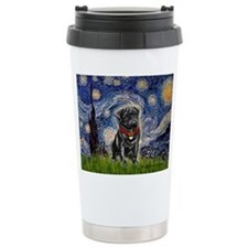 Starry Night / Black Pug Travel Mug