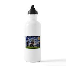 Starry Night / Black Pug Water Bottle