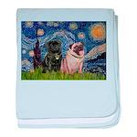Starry Night / 2 Pugs baby blanket