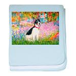 Garden / Rat Terrier baby blanket