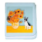 Sunflowers / Rat Terrier baby blanket