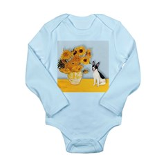 Sunflowers / Rat Terrier Long Sleeve Infant Bodysu