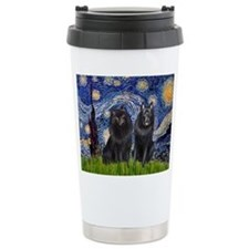 Starry Night & Schipperke Travel Mug