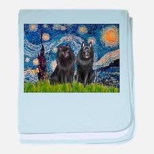 Starry Night & Schipperke baby blanket