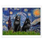 Starry / Schipperke Pair Small Poster