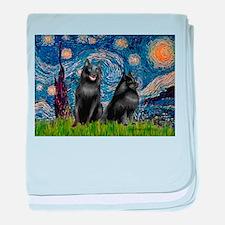 Starry / Schipperke Pair baby blanket