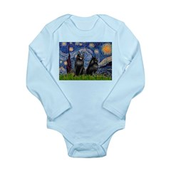 Starry / Schipperke Pair Long Sleeve Infant Bodysu