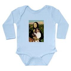 Mona Lisa / Sheltie (s&w) Long Sleeve Infant Bodys