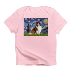 Starry Night / Sheltie (s&w) Infant T-Shirt