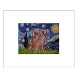 Starry / 2 Weimaraners Small Poster