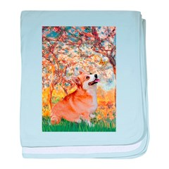 Spring / Corgi baby blanket