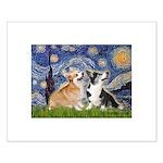 Starry Night / Corgi pair Small Poster