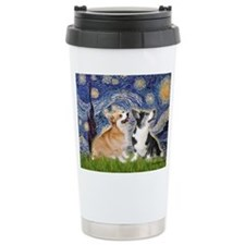 Starry Night / Corgi pair Travel Mug