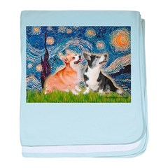 Starry Night / Corgi pair baby blanket
