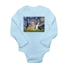 Starry Night / Corgi pair Long Sleeve Infant Bodys
