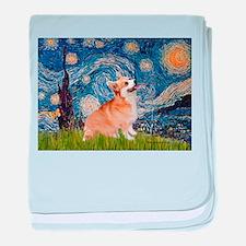 Starry Night Corgi baby blanket