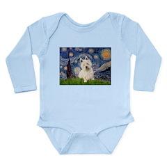 Starry Night/Westie Long Sleeve Infant Bodysuit